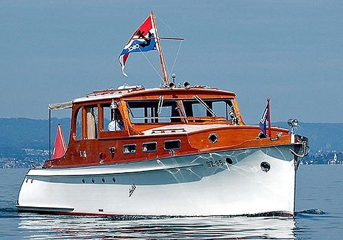Oldtimer Motorboot Geschäftsausflug Zürich Swiss Craft